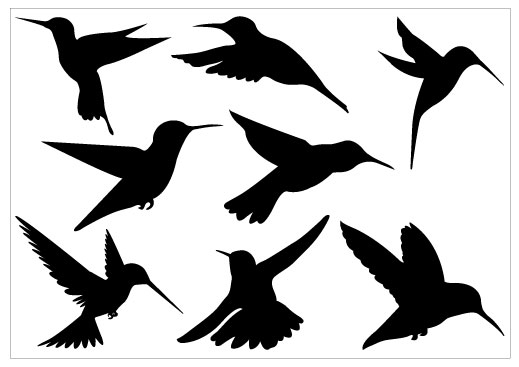 519x367 Humming Bird Silhouette Clip Art Pack Art   Silhouettes