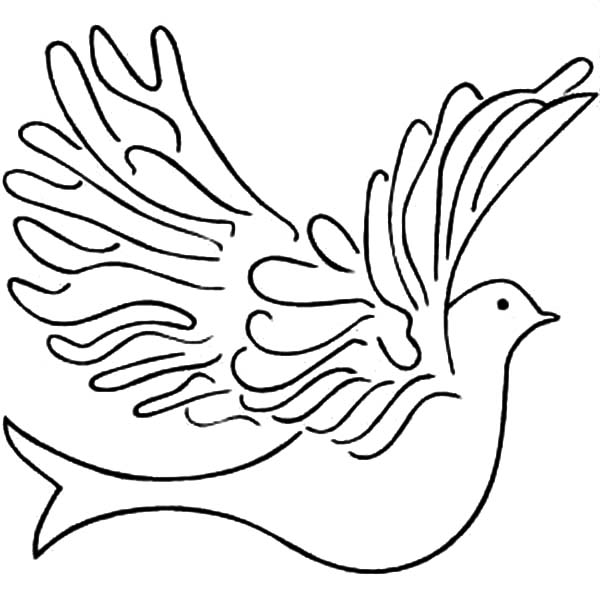 600x600 Dove Bird Floating Colouring Page Dove Bird Floating Colouring