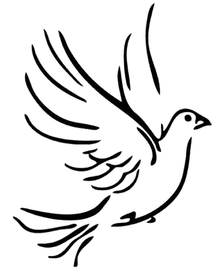 720x900 Dove Clipart Line Drawing