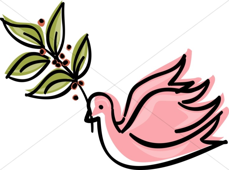 776x575 Pink Dove With Olive Branch Clipart Dove Clipart
