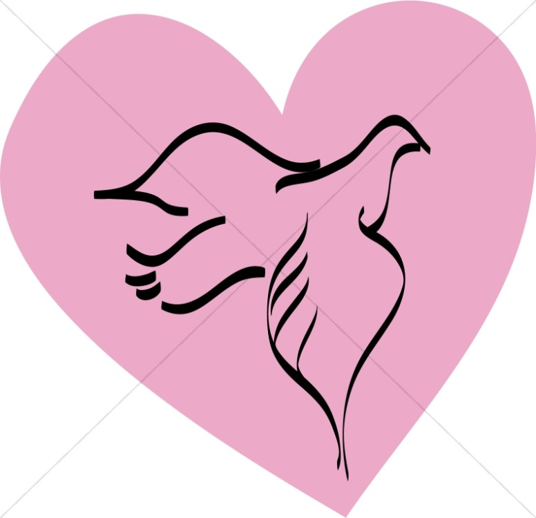 776x750 Dove Outline On Pink Heart Valentines Day Clipart