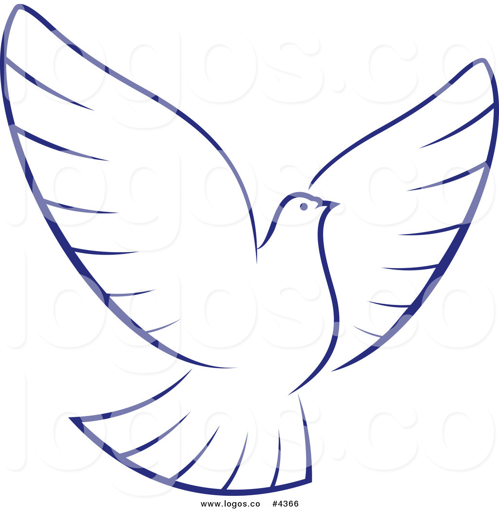 1024x1044 Royalty Free White Dove With Blue Outline Logo By Vector Tradition