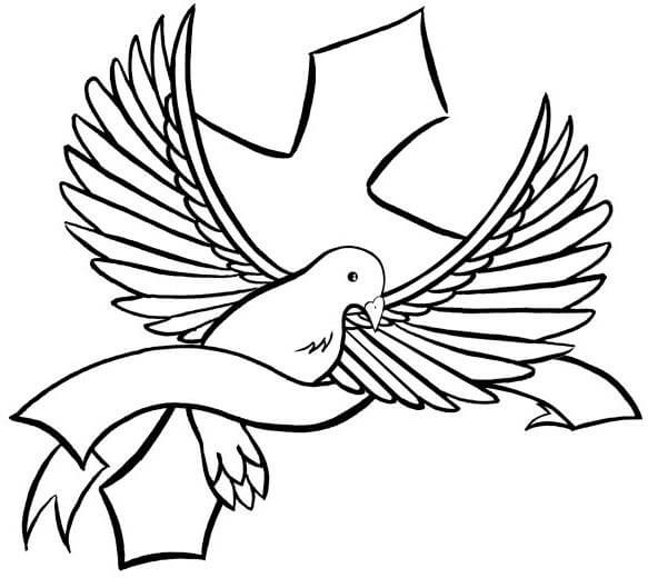 583x520 Simple Black Dove With Stripe And Cross Tattoo Design