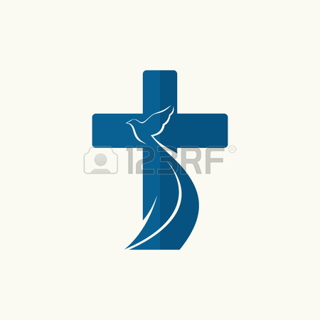 450x450 Church Logo. Cross And Dove, Symbol Of The Holy Spirit Royalty