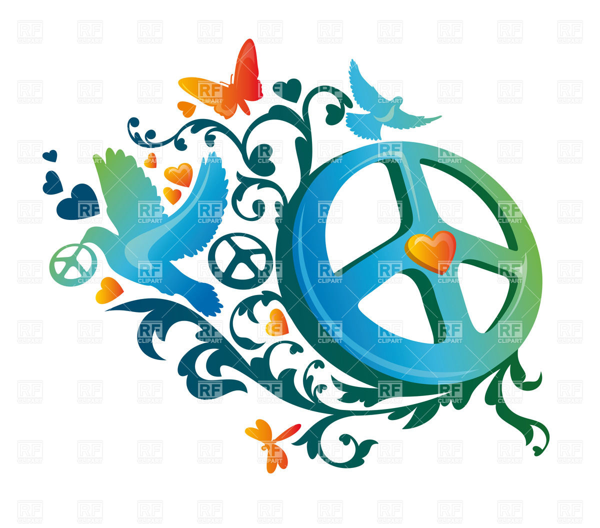 1200x1056 Hippie Peace Symbol With Dove Royalty Free Vector Clip Art Image