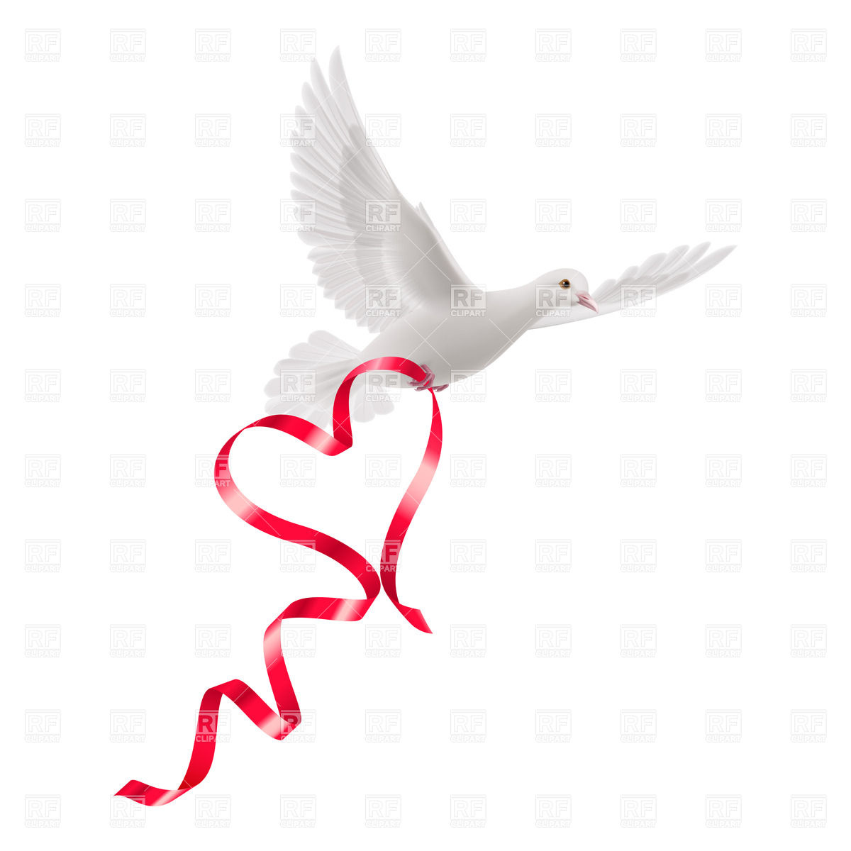1200x1200 White Dove With Red Ribbon On Blue Background Royalty Free Vector