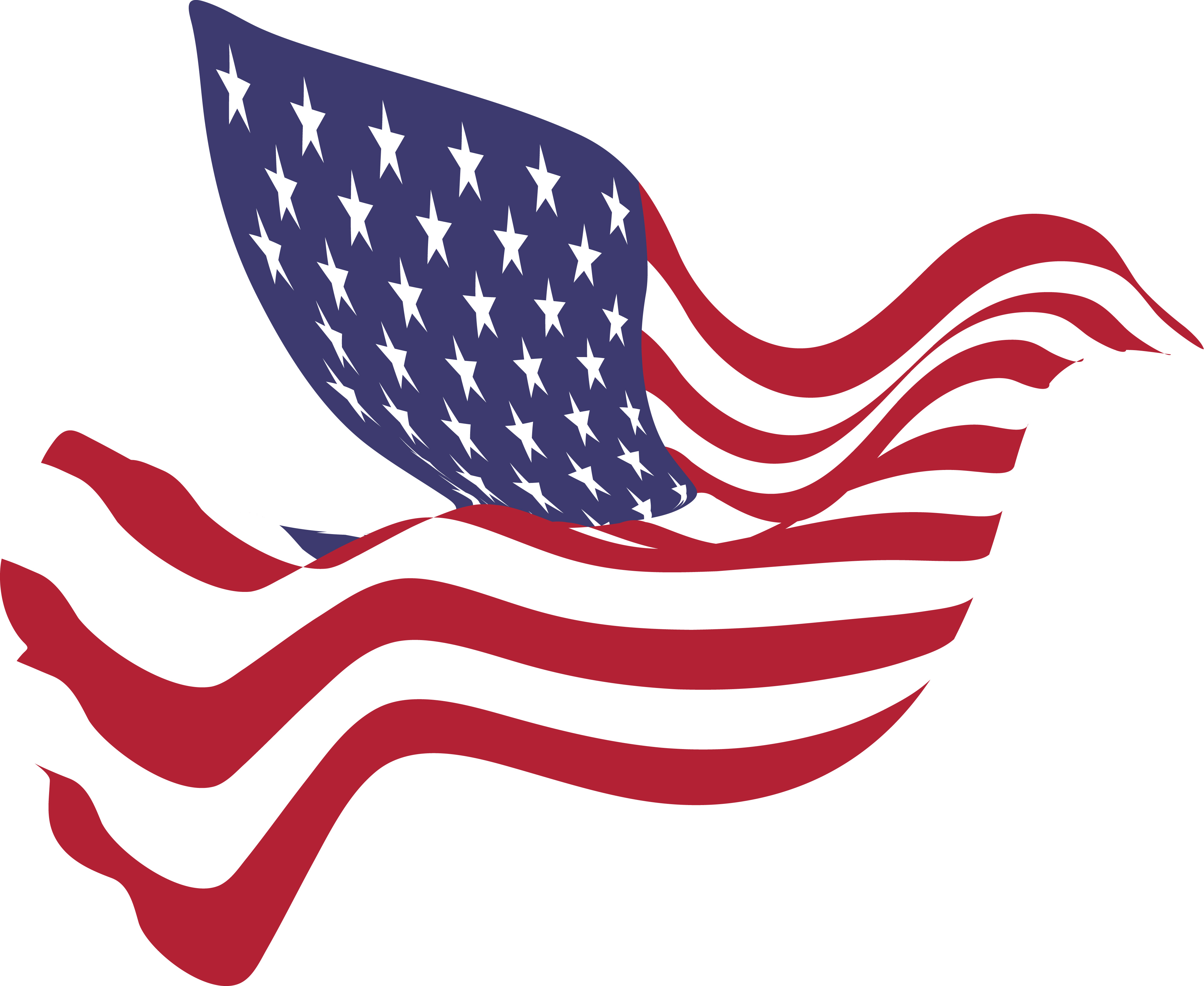 4000x3275 Clipart Of A Peace Dove With An American Flag Pattern