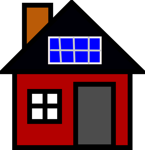 582x600 House With Solar Panel Clip Art