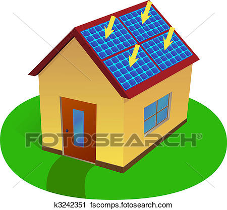 450x417 Clipart Of Solar Energy House K3242351