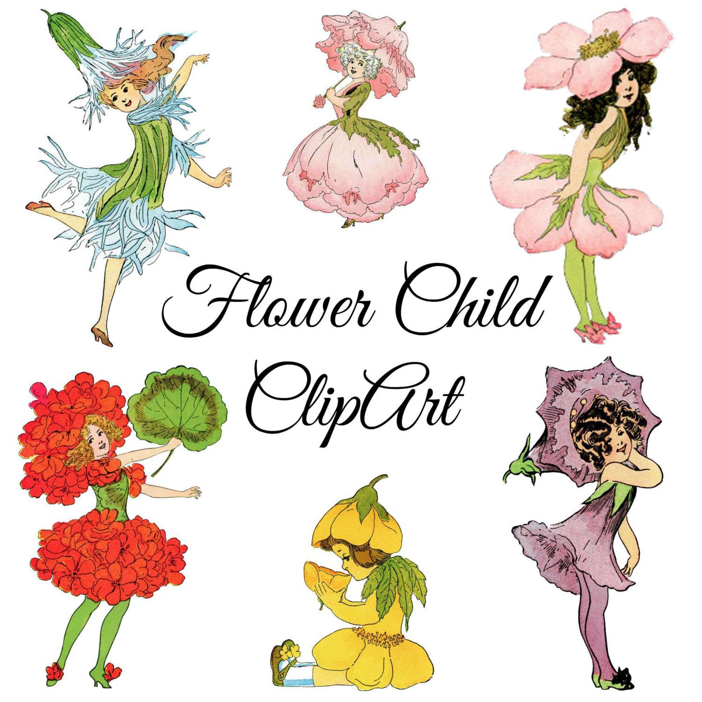1500x1500 Vintage Flower Child Clipart, Vintage Illustrations Png Clip Art