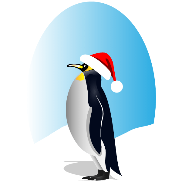 600x600 Penguin With Red Santa Hat Vector Clip Art 123freevectors