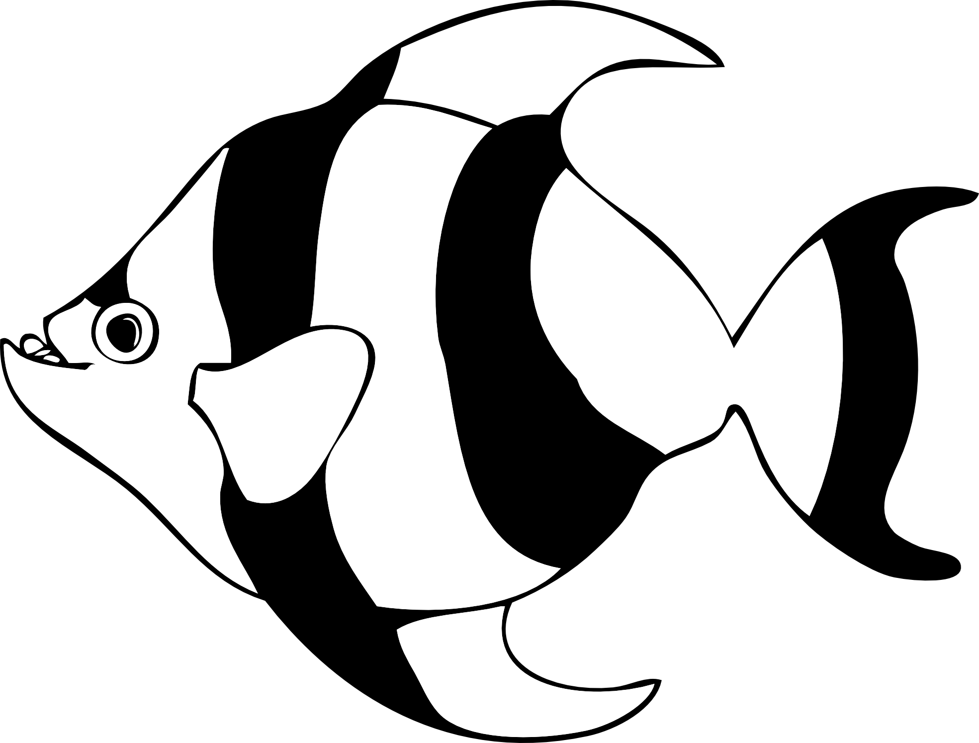 1969x1494 Black And White Fish Clipart