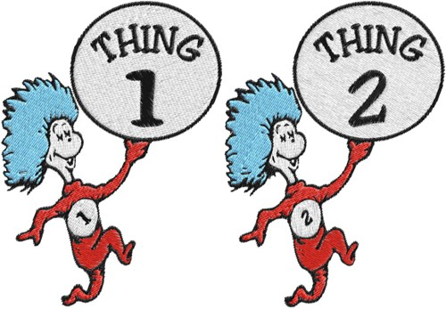 500x347 Thing 1 And 2 Shirts Clipart