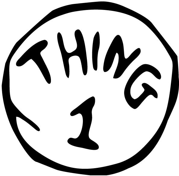 594x584 Thing 1 And Thing 2 Black And White Clipart