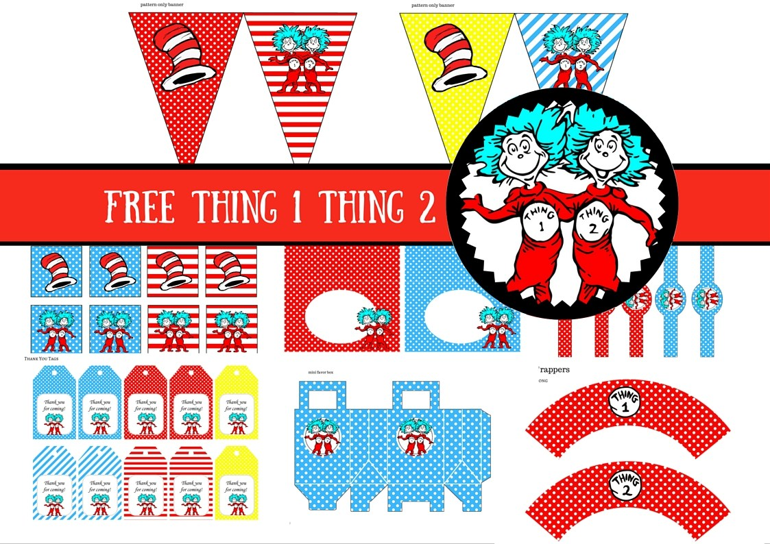 1123x794 Free Dr Seuss Thing 1 Thing 2 Twins Party Printable