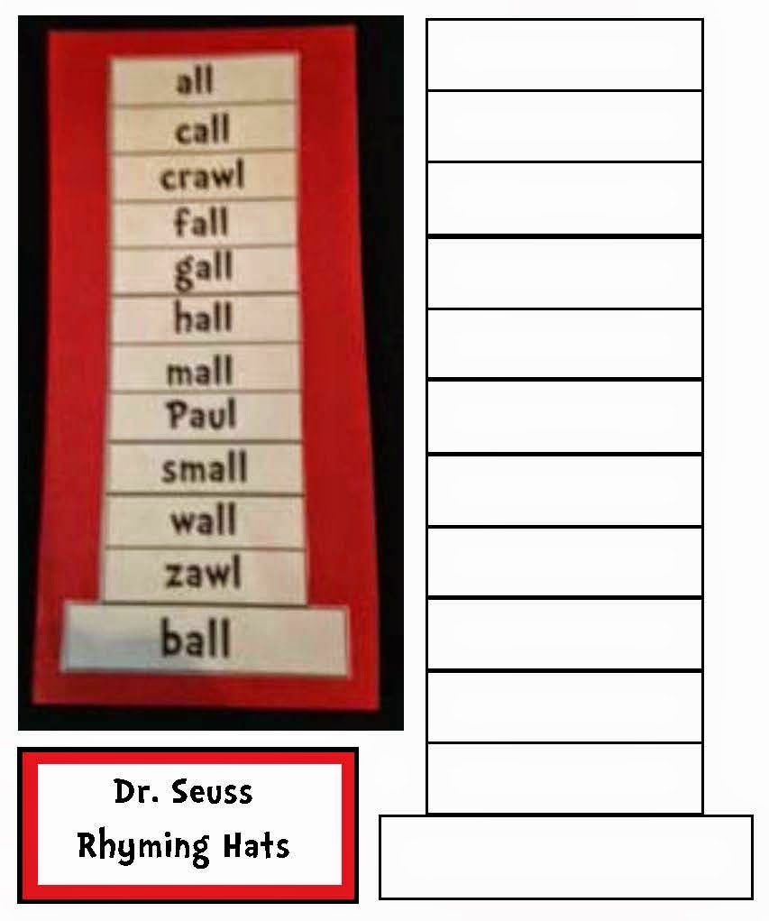 853x1021 Classroom Freebies Dr. Seuss Cat In The Hat Rhyme Time Craftivity