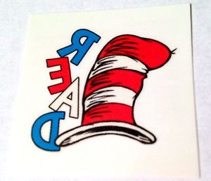 300x258 New! 24 Dr Seuss Cat In The Hat Read Temporary Tattoos Party