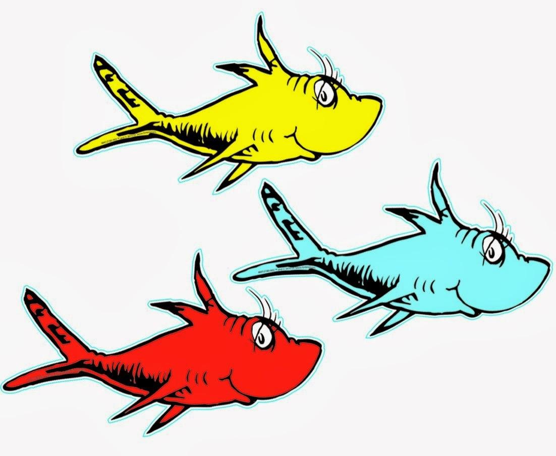 1102x905 Dr. Seuss 1 Fish 2 Fish Cutouts Free Printables, School And Fish