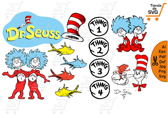 570x403 The Cat In The Hat Svg Dr Seuss Svg Thing 1 And Thing 2