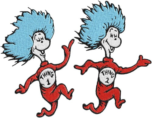 500x386 Dr.seuss,cat In Hat,thing 1,thing 2 Machine Embroidery Design