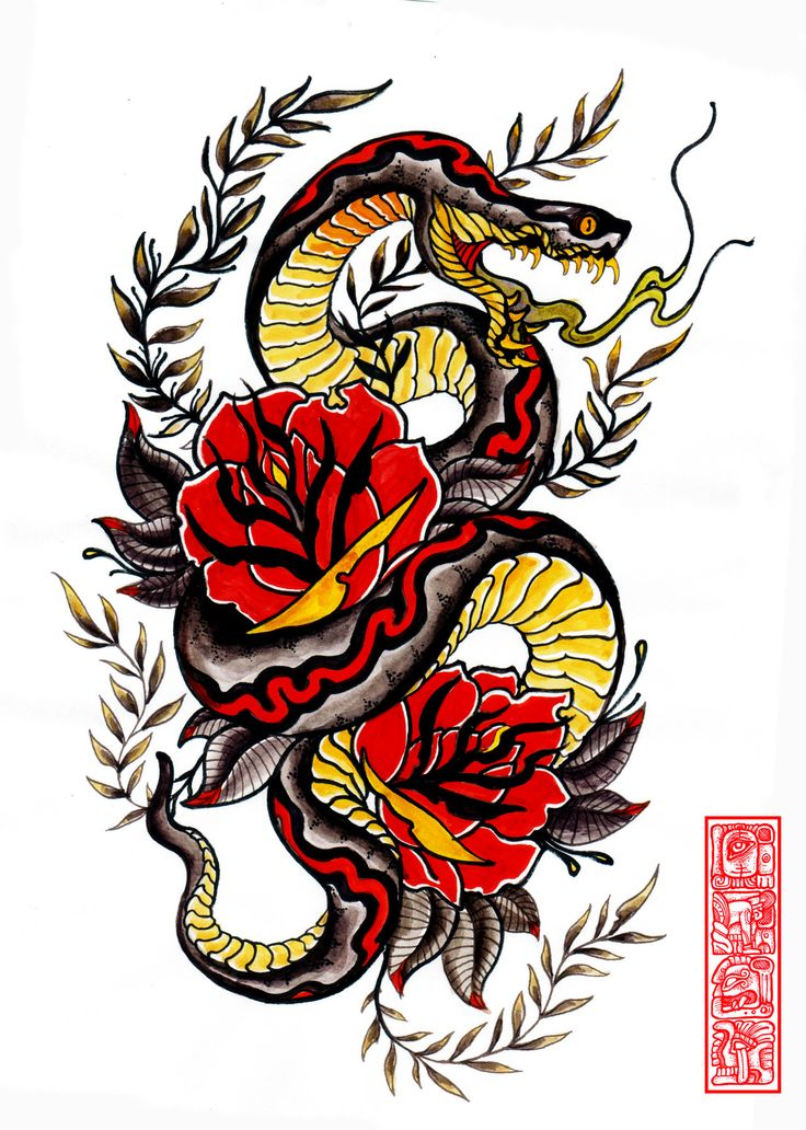 736x1032 Best Traditional Snake Tattoo Ideas Traditional