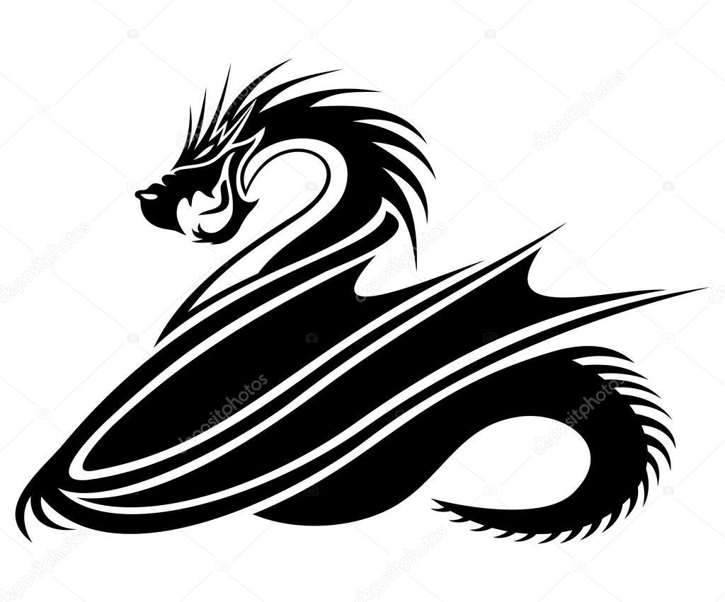 1024x851 Black Dragon On White. Stock Vector Taronin