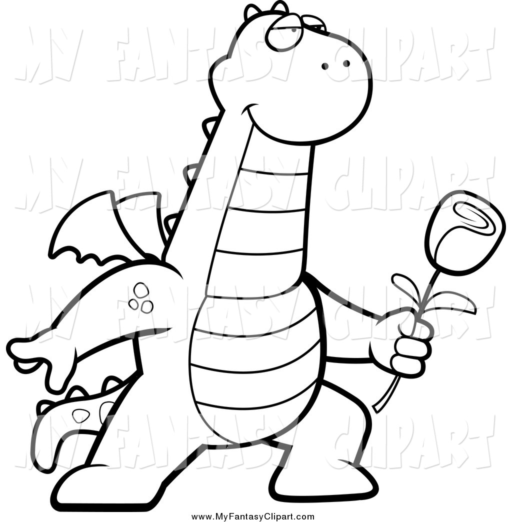 1024x1044 Clip Art Of A Black And White Dragon Presenting A Rose For His