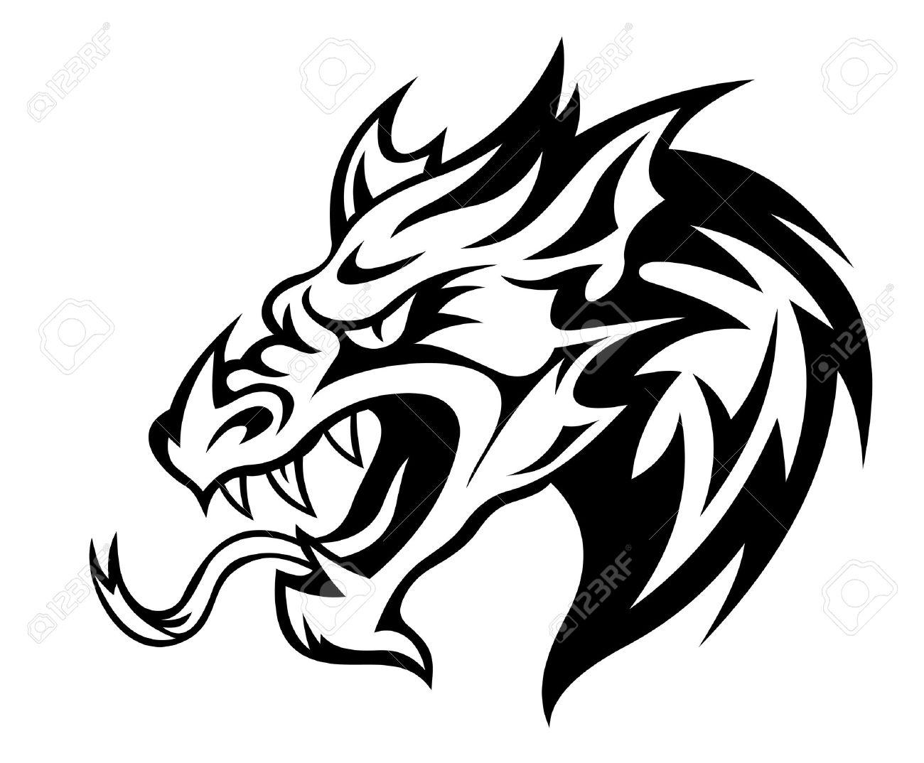 1300x1074 Dragon Head Clipart Black And White
