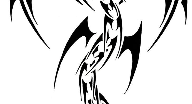 728x393 Dragon Tattoo Black And White Dragon Tattoo Front View Black White