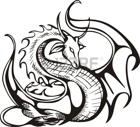 450x409 Raising Dragon Black And White Vector Illustration Royalty Free
