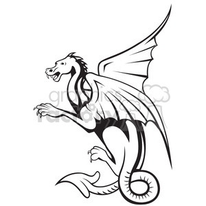300x300 Royalty Free Black And White Big Dragon Side 388271 Vector Clip