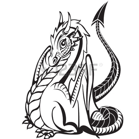 450x450 White Skeleton Of The Dragon On The Black Background Royalty Free