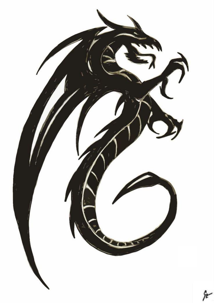 736x1044 25 Best Black Dragon Tattoo Sketch Images Design