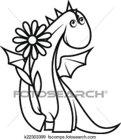 409x470 Clip Art Of Coloring Book Cute Little Dragon Holding Flower