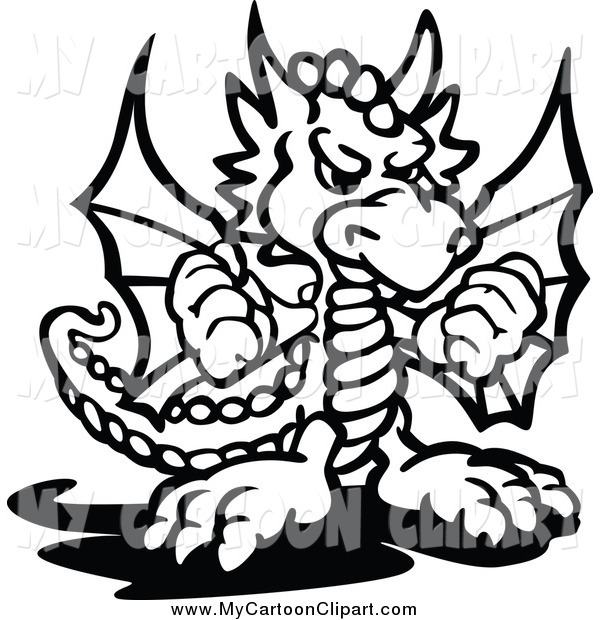 600x620 Clip Art Of A Black And White Dragon Holding Up Fists By Chromaco