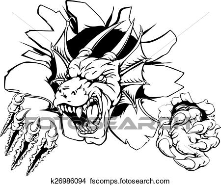 450x379 Clipart Of Angry Dragon Sports Mascot K26986094