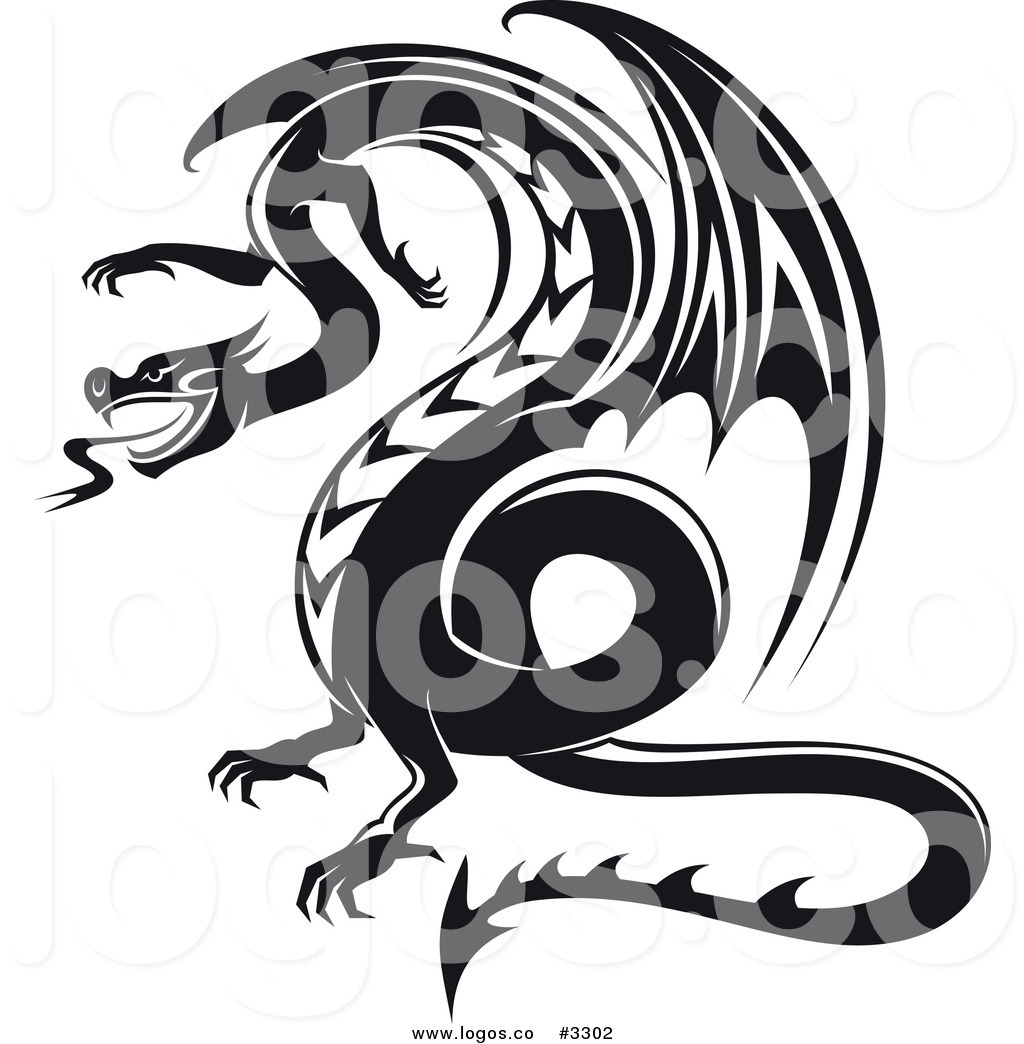 1024x1044 Royalty Free Vector Of A Black And White Dragon Logo By Vector
