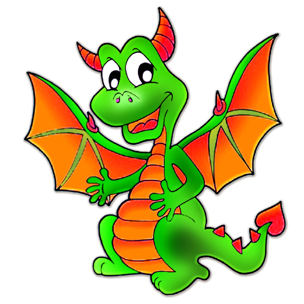 600x600 Green Cute Baby Dragon Clipart