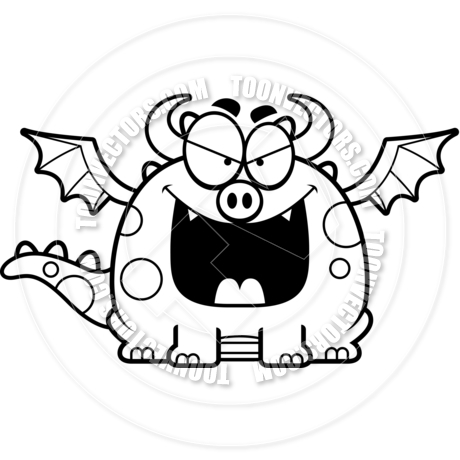 460x460 Cartoon Little Dragon Evil (Black And White Line Art) By Cory