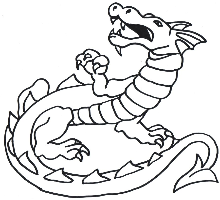 892x813 Dragon Clipart Simple Line Art