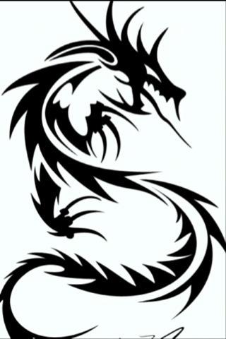 320x480 Drawn Dragon Black And White