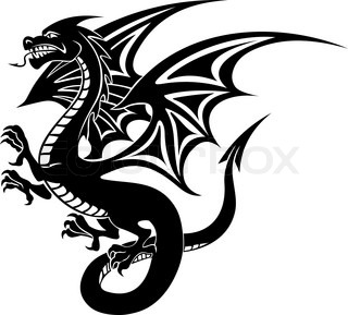 320x289 Medieval Dragon Clipart Black And White