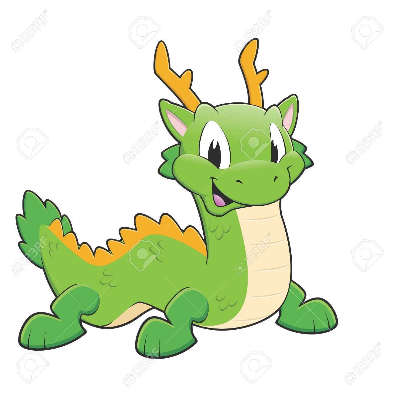 1300x1300 Vector Illustration Of A Green Chinese Dragon Royalty Free