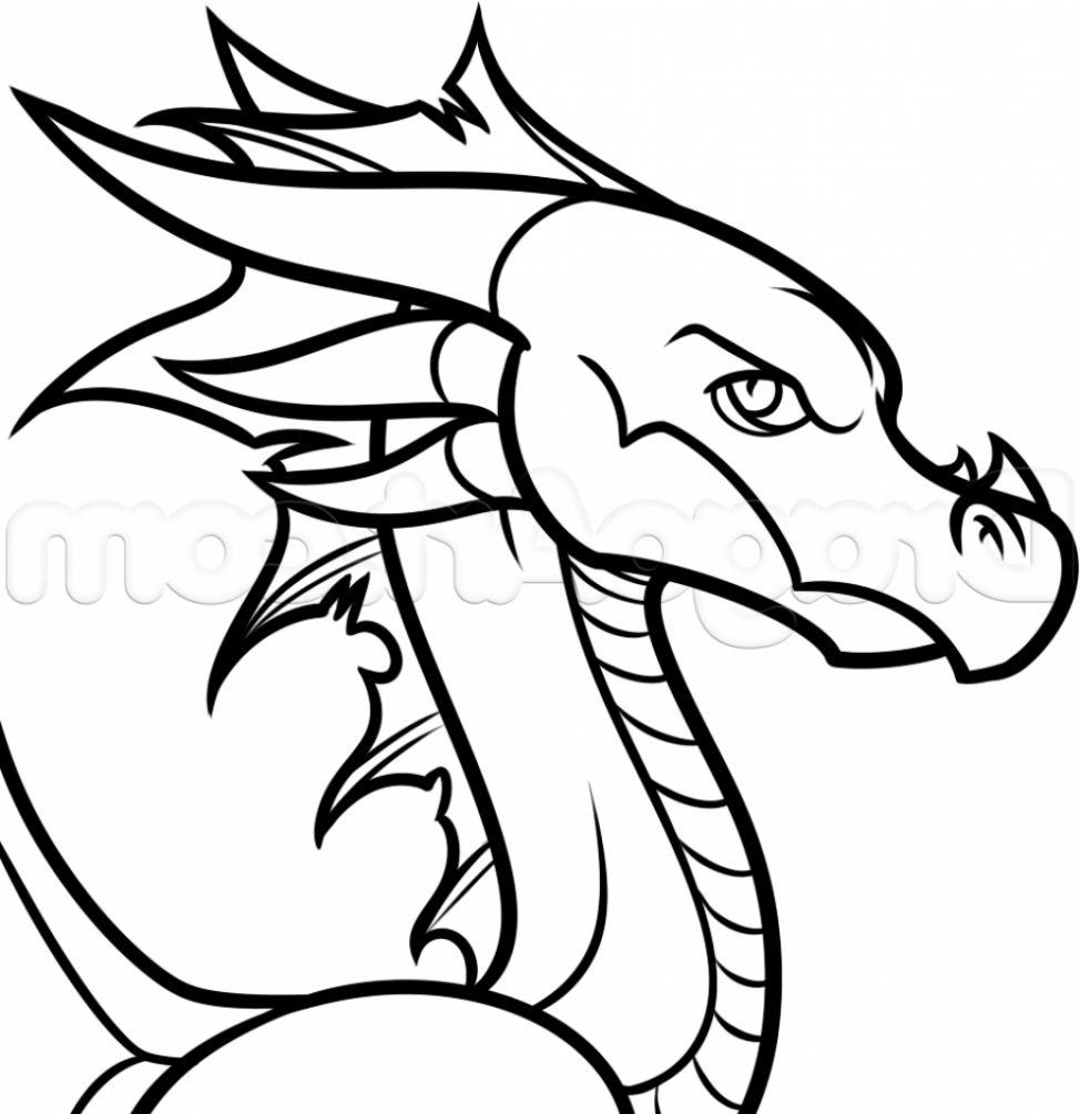 974x1005 Coloring Pages Dragon Cartoon Drawing Easy Of A How To Draw