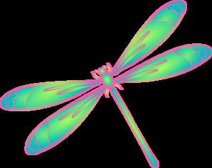298x237 Dragonfly In Flight Blue Green Pink Clip Art