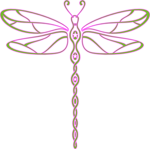 600x596 Pink And Green Dragonfly Clip Art