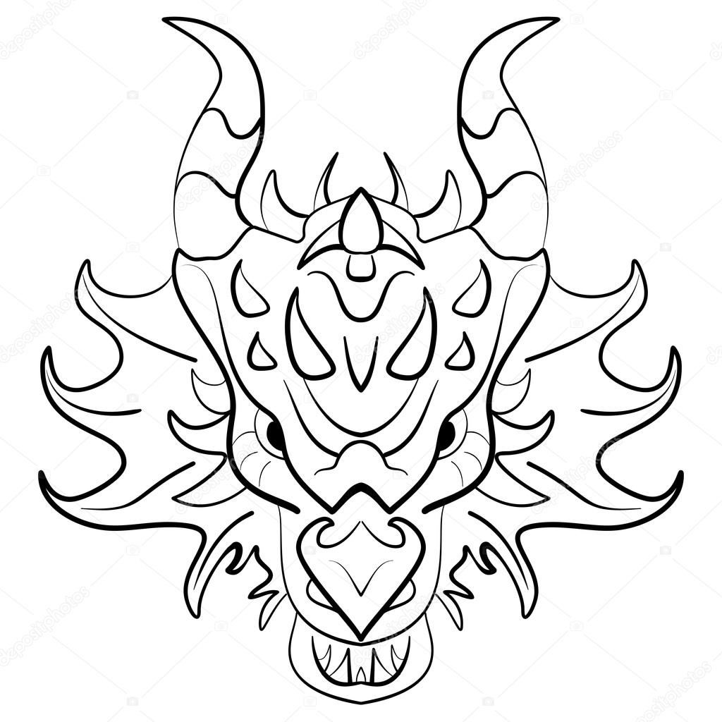 1024x1024 Black Dragon Tattoo Design On White Background Stock Vector
