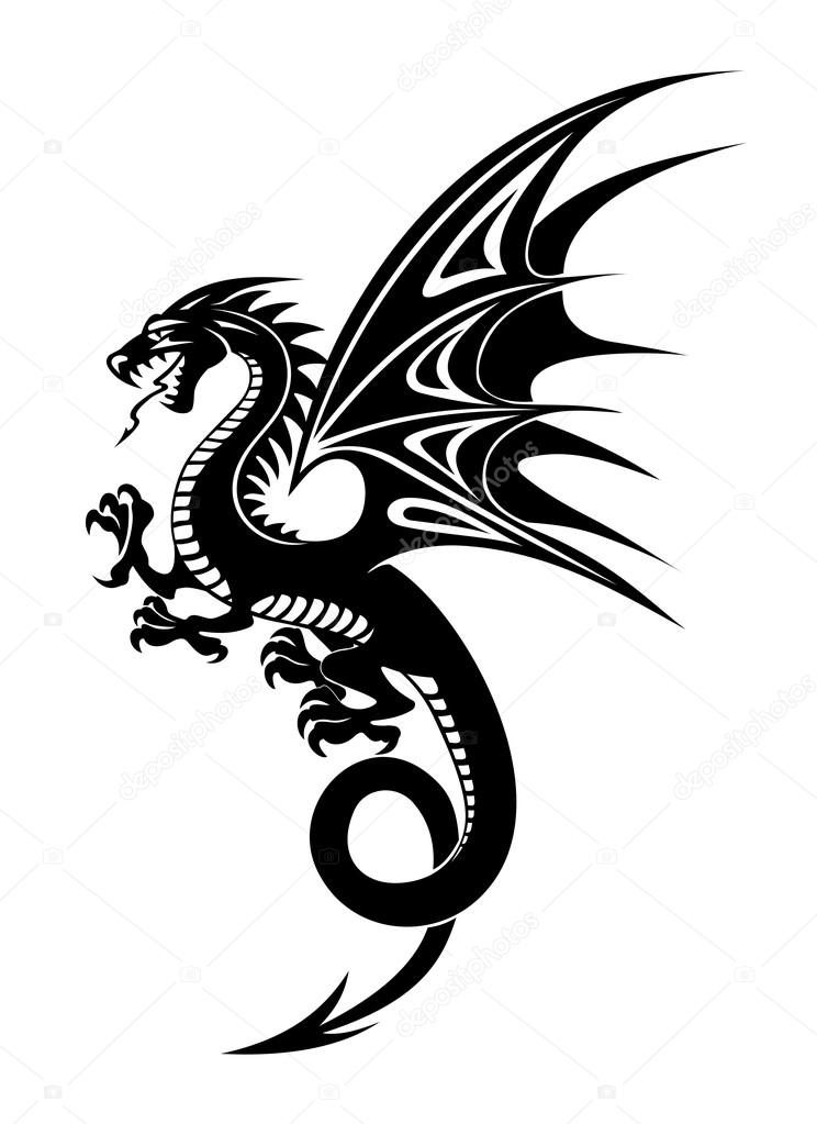 744x1023 Black Dragon Stock Vector Nihongo