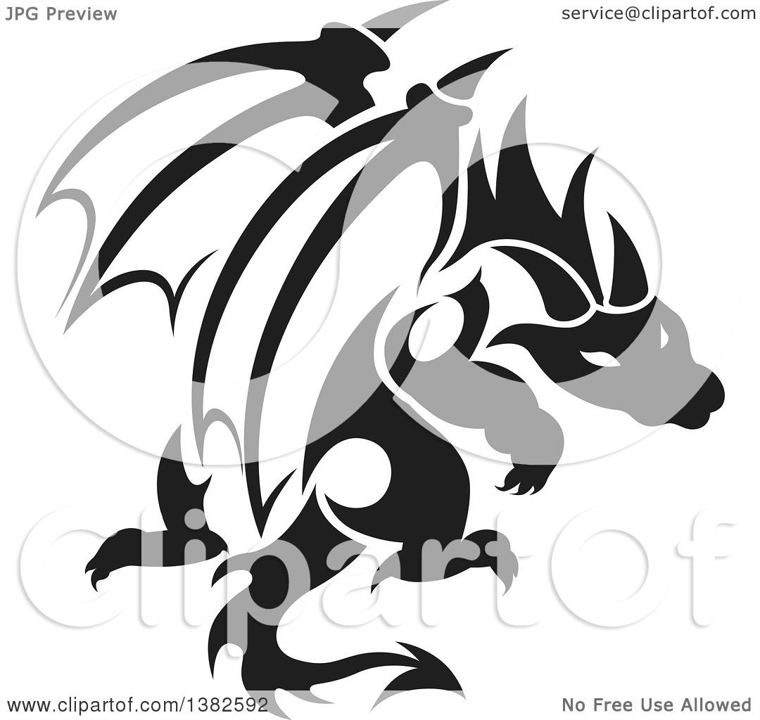 1080x1024 Clipart Of A Black And White Dragon Tattoo Design
