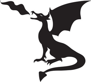 300x271 Fire Breathing Dragon Clipart Black And White